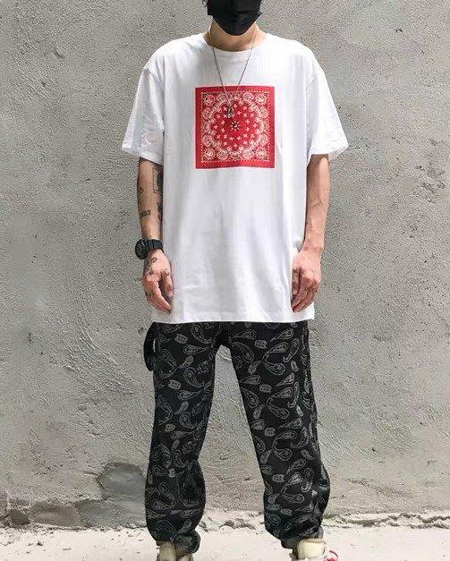 《2色》バンダナ柄ペイズリー HIPHOP Tシャツの画像4